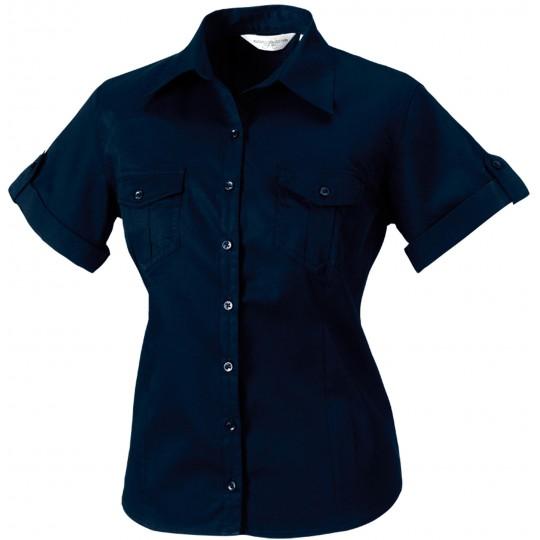 Camisa de senhora de manga curta ajustável