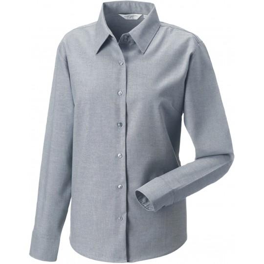 Camisa oxford de senhora de manga comprida