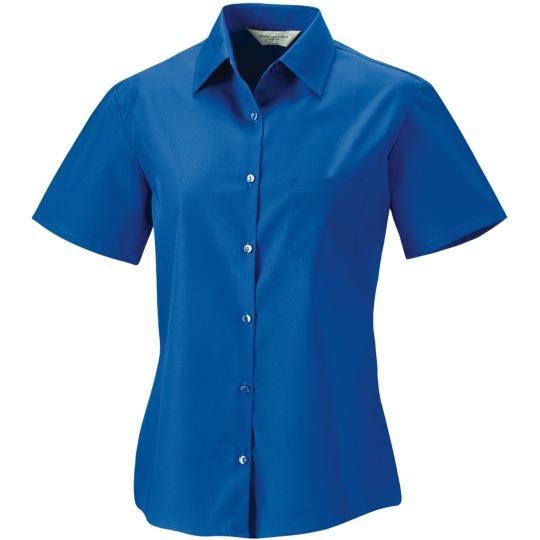 Camisa de senhora de manga curta em popeline Russell®