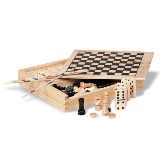 4 jogos em caixa de madeira