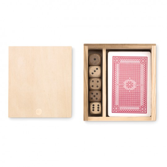 Set de cartas e dados em caixa de madeira