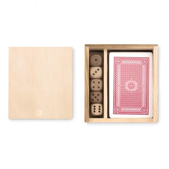 Set de cartas e dados em caixa