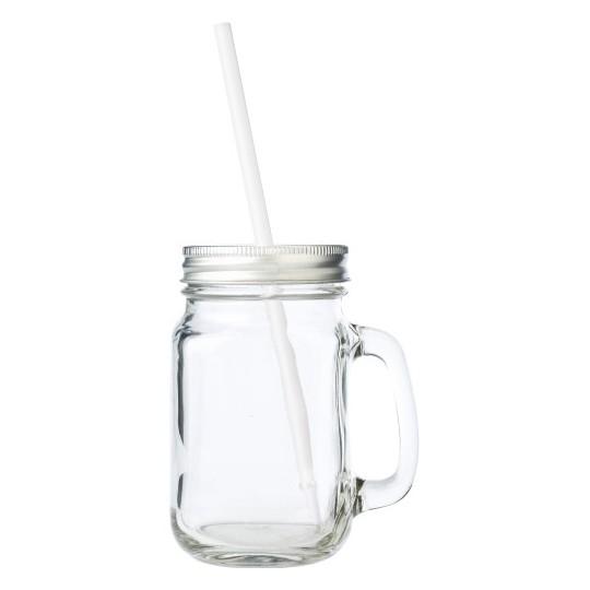 Garrafa em vidro com alça, tampa e palhinha