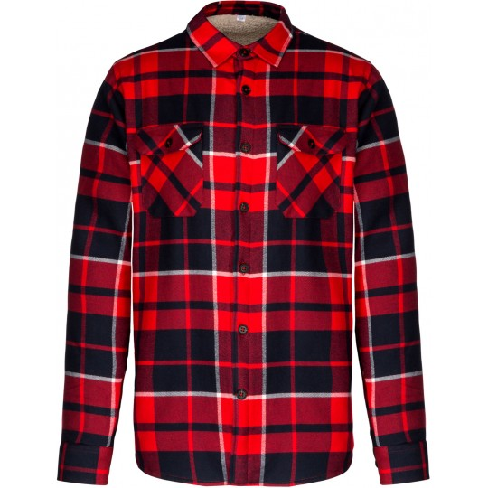 Camisa aos quadrados com forro em sherpa