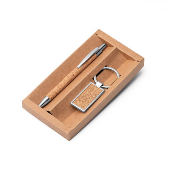 Conjunto esferográfica e porta-chaves