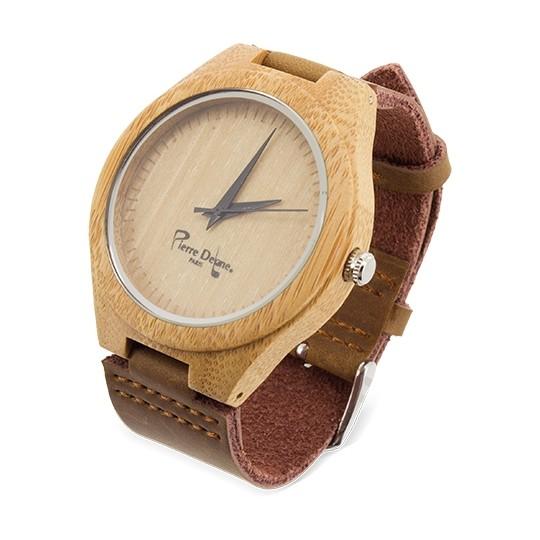 Relógio Bambu com pele natural - Pierre Delone®