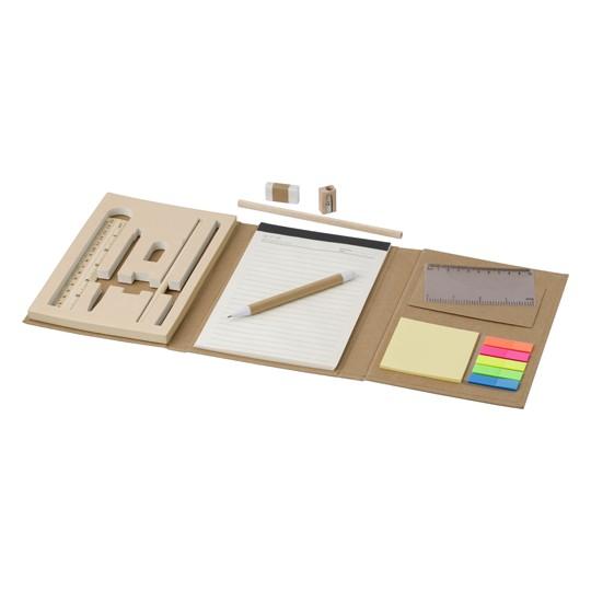 Pasta de cartão com material de escrita