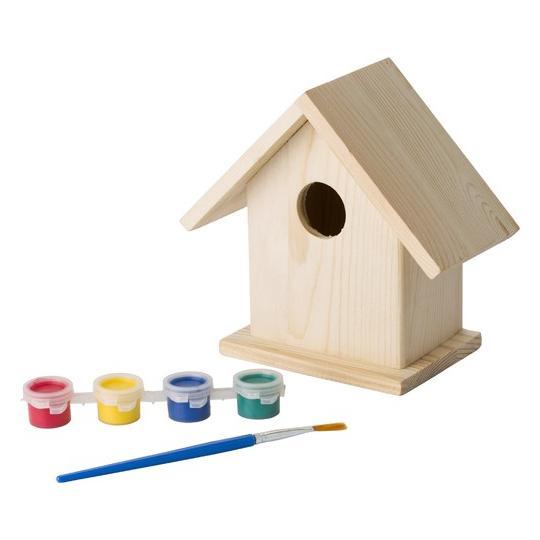 Casa de passarinhos com conjunto para pintar