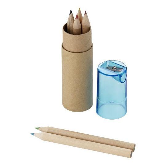 Conjunto de 6 lápis e afia
