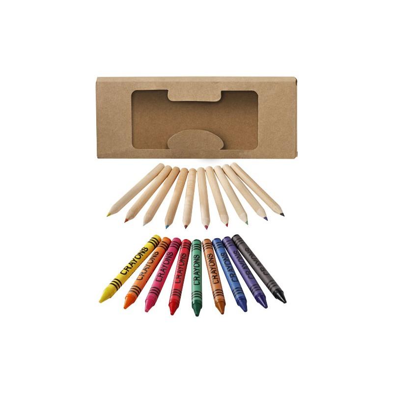 Conjunto de 19 lápis e lápis de cera