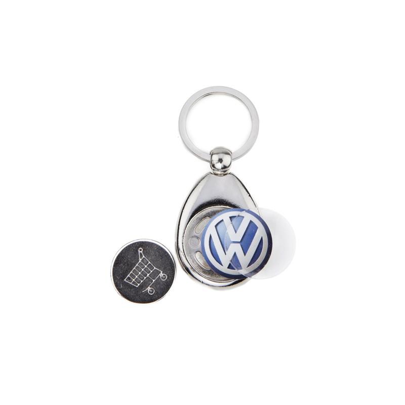 Porta-chaves de metal com ficha 1,00€ para carrinho