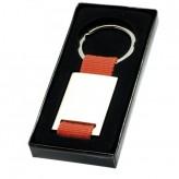 Porta-chaves de metal retangular com fita de nylon