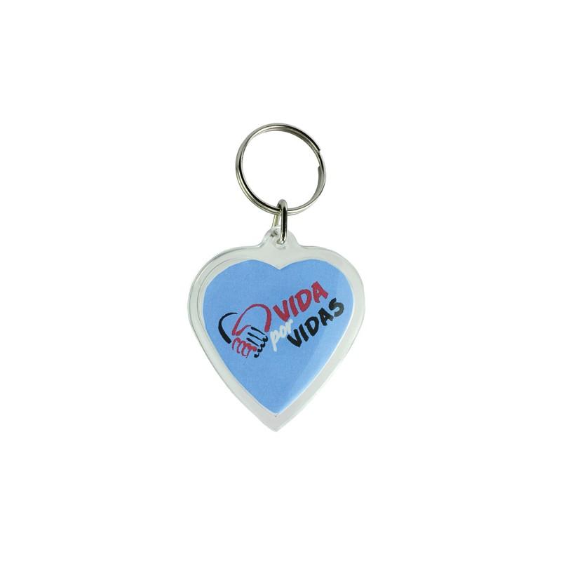 Porta-chaves acrílico coração 2 faces