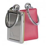 Porta-chaves retangular de plástico e metal