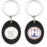 Porta-chaves oval com ficha 1,00€ para carrinho