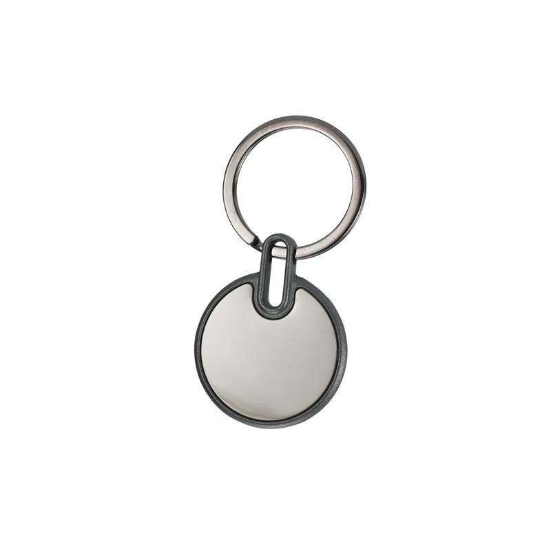 Porta-chaves redondo em metal espelhado