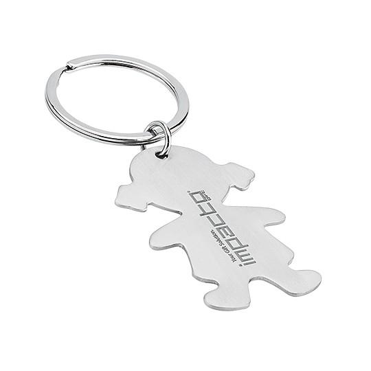 Porta-chaves menina em aço inoxidável
