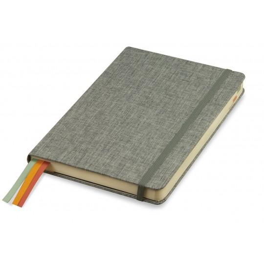 Bloco de notas, capa forrada a linho, 3 separadores e bolsa