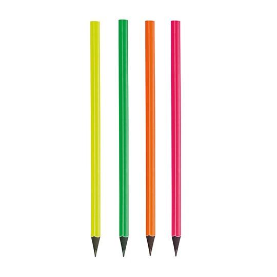 Lápis triangular fluorescente, madeira preta