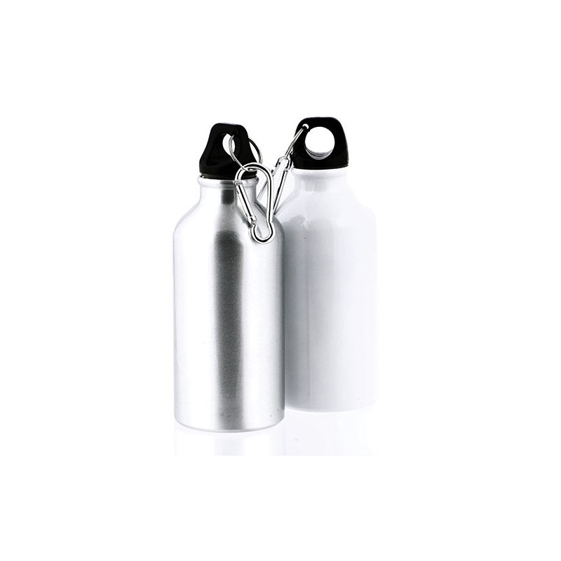 Garrafa em alumínio de 400 ml para sublimação com mosquetão